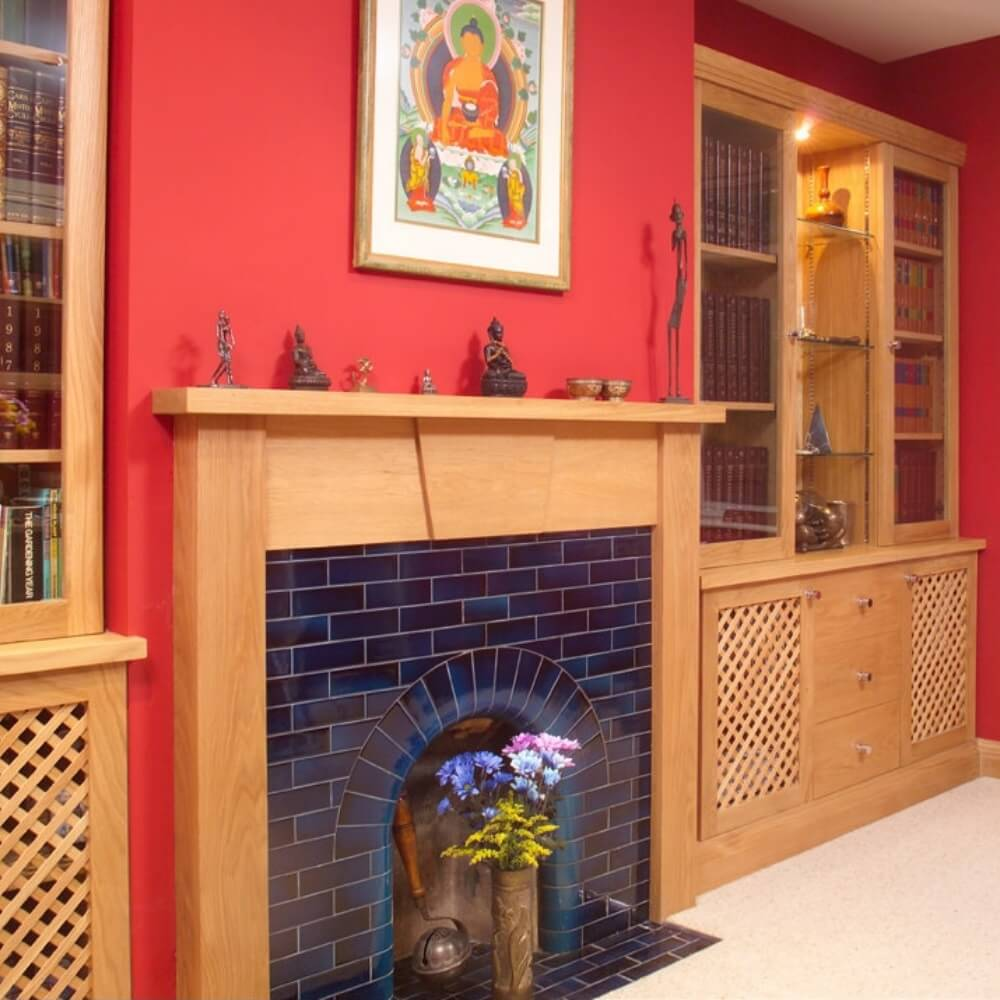 Matching oak fireplace