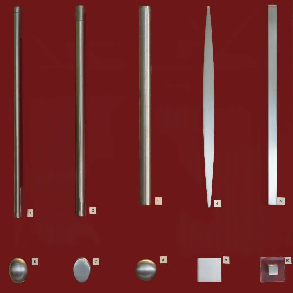 A variety of stainless steel ironmongery